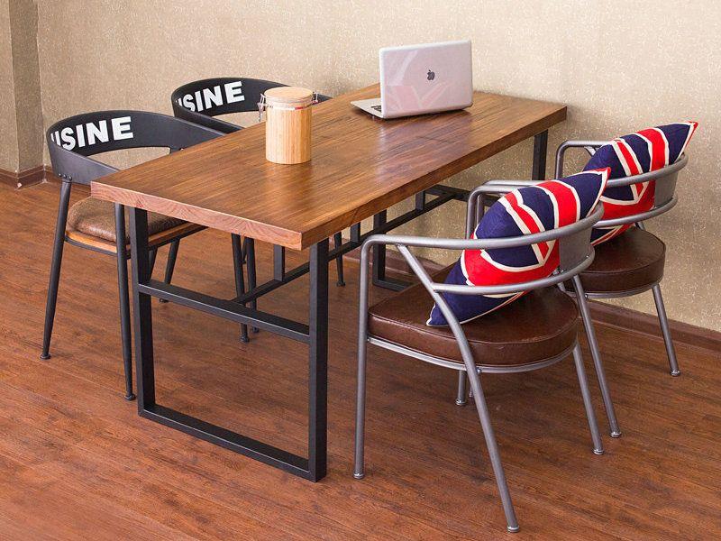 咖啡厅桌子 卡座工业风复古实木餐桌 餐厅酒店餐饮店餐桌椅组合
