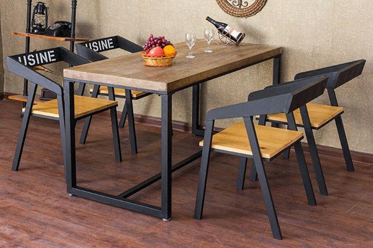 酒吧桌椅小户型桌子餐厅餐桌椅铁艺实木餐桌休闲咖啡厅桌椅组合