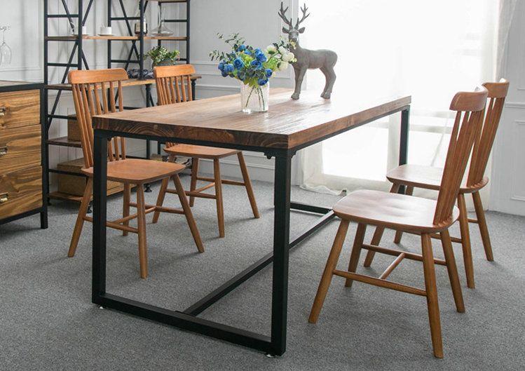 美式乡村实木餐台长方形铁艺实木餐桌复古做旧饭桌休闲餐桌椅组合