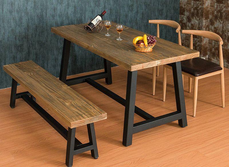 简约现代铁艺实木餐桌椅组合定制办公桌会议室公司电脑桌大板台
