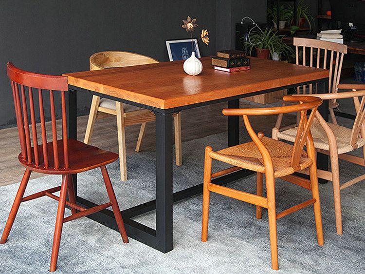 美式铁艺餐桌椅组合实木餐椅复古带扶手靠背椅子咖啡厅桌椅定制