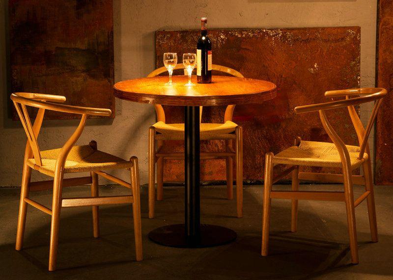 复古漫咖啡厅冷饮甜品奶茶店桌椅西餐厅馆洽谈会客小圆桌组合实木
