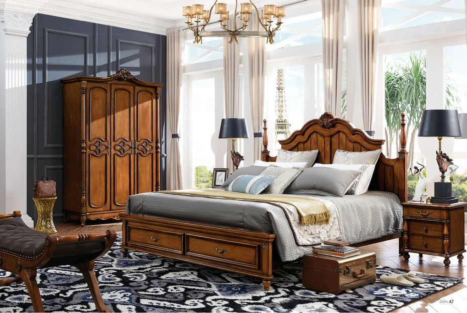 美式乡村实木框架床 复古简约卧室床双人床 1.5米1.8m